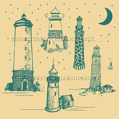 Lighthouse Illustration vector (Gal'ko) Tags: ocean old travel light sea lighthouse white house black building tower art beach water silhouette sign set architecture illustration night danger warning vintage sketchy emblem logo hope design coast marine sailing symbol drawing background sails landmark security icon retro safety direction searchlight guide nautical signal beacon vector navigation isolated element handdrawn lighthousevector