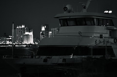 Night Watch (katushang) Tags: china city urban blackandwhite bw heilongjiang skyline night river landscape boat blackwhite spring ship hiking nightscene  dslr riverbank harbin helios dx haerbin songhuajiang 2016 helios402 songhuariver    lateautumn russianlens d5100 nikond5100 helios402n heilongjaing