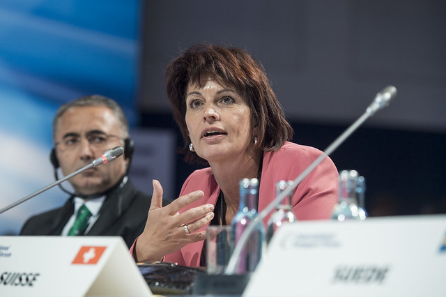 Doris Leuthard makes a point at the Open Ministerial Session