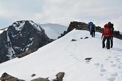 Mixed snow and rock on the Fiacaill Ridge (nic0704) Tags: mountain walking t landscape scotland highlands outdoor hiking hill peak an ridge climbing summit mountainside cairn gorm scramble cairngorm cairngorms foothill lochan coire sneachda fiacaill