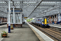 Latticework (whosoever2) Tags: street uk greatbritain railroad roof station train scotland unitedkingdom glasgow sony platform railway scotrail structure gb paisley dsc latice gilmour renfrewshire class380 380020 rx100m3