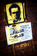 false flag (khrawlings) Tags: newyork brick wall danger graffiti canal paint notice head president georgebush 911 spray twintowers groundzero westmidlands wolverhampton blackcountry conspiracytheory falseflag buildingseven