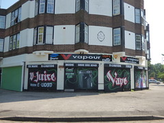 Vapour - Olton Boulevard East / Fox Hollies Road (ell brown) Tags: greatbritain trees england streetart tree shop graffiti birmingham unitedkingdom shutters shutter shops westmidlands vapour coils mods madscientist acocksgreen vape foxhollies oltonboulevardeast ecigs vjuice foxholliesrd ukmade eliquids customeliquid thebloomroomsflorist