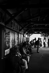 Station Retro (H.H. Mahal Alysheba) Tags: railroad shadow people monochrome station japan nikon snapshot nikkor afs d800 2485mmf3545