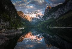 Mountain Mirror (@hipydeus) Tags: sunset mountains landscape austria spring dachstein alpenglow gosausee