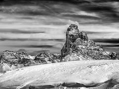 Solid as a Rock... (Ody on the mount) Tags: italien schnee bw monochrome urlaub himmel wolken it berge sw sdtirol veneto dolomiten gipfel dobbiaco dreiecke dreizinnen schneeschuhtour anlsse dolomiten201602