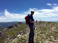 Me at the summit of Monte Passeggio with the Pizzo Deta ridge behind (Photo: Edita Nichols) (markhorrell) Tags: walking lazio apennines montiernici