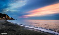 Deiva Marina Beach Sunset (leeleeque) Tags: sunset sea italy mer seascape color beach nature trekking canon landscape spring italia coucher sigma cinqueterre paysage plage printemps italie tourisme randonne ligurie cinqterre canon600d angetraverso acontretemps