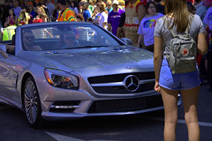 In The Way (swong95765) Tags: street woman car lady mercedes benz crowd convertible busy vehicle sportscar crowded derrier