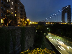 Hudson Heights, NY (lotos_leo) Tags: street bridge newyork night outdoor manhattan hudsonriver georgewashingtonbridge hudsonheights 20thjune chittendenavenue