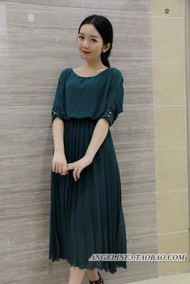 New 2016 sommergrün sieben-Ärmel Chiffon Kleid