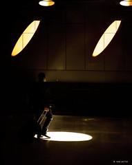 step into the circle (Ren Mollet) Tags: street shadow man silhouette circle walking lumix airport streetphotography step zrich zuiko shadowland lichtkegel renmollet