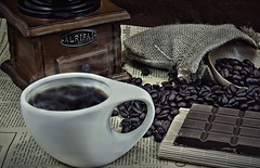 Coffee Cup and Beans (khalid almasoud) Tags: coffee cup beans studio still life cafe colors sony ilce5100 sonya5100 lights 1650mm home flickr estrellas