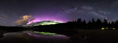 Lost Of The Night (Bun Lee) Tags: longexposure trees panorama lake canada mountains reflection nature water stars landscape whistler landscapes bc nightscape britishcolumbia arc galaxy astrophotography aurora lostlake auroraborealis nightscapes galactic milkyway nightskies bunlee bunleephotography