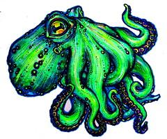 krakelkrake (Einheitsbrei) Tags: art neon drawing octopus tintenfisch einheitstochter