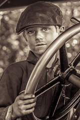 Young driver (alanrharris53) Tags: boy war weekend 1940 traction engine dirty steam 1940s driver oily greatcentralrailway gcr