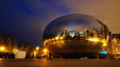 Cloud Gate - Indigo Gold Series 002 (@ThetaState) Tags: distortion chicago reflection night gold indigo cloudgate