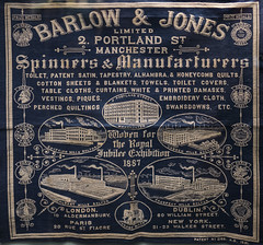 Interesting typo blunder, Bolton Museum 1887 textile (Pitheadgear) Tags: uk mill industry manchester northwest embroidery lancashire cotton bolton spinning textiles typo mills mistakes industrialhistory boltonmuseum boltonmuseumandartgallery barlowjones