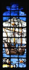 Tudor galleon, St Paul arrives at Miletus (detail, English glass, 16th Century) (Simon_K) Tags: cambridge college university chapel stainedglass tudor kings cambridgeshire eastanglia 16thcentury cambs