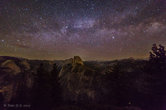 Milky Way over Half Dome (ScorpioOnSUP) Tags: california nightphotography nature night clouds stars lights nationalpark astrophotography halfdome nightsky yosemitenationalpark wilderness yosemitevalley cloudsrest northdome basketdome landscapephotography themilkyway mtclark