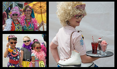 Honfest Collage (ricepeter) Tags: colors umbrella rollerskates baltimore boa pinkflamingo pinkhair 2016 honfest bawlmer haircurlers funnysunglasses kidsinmakeup
