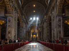Into The Light (Allen Castillo) Tags: light vatican architecture basilica altar indoors catholicchurch michelangelo bernini crepuscularrays stpetersbasilica saintpetersbasilica beamsoflight nikon1424 nikond610