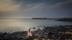 Waiting (rameshsar) Tags: 24105 6d pondy vaishu canon pondicherry slowspeed longexposure lowlight waves art colors beach rocks still india canon6d