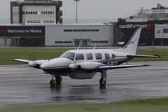 G-BEZL (aitch tee) Tags: wet weather aircraft generalaviation walesuk cardiffairport pa31navajo gbezl maesawyrcaerdydd cwlegff