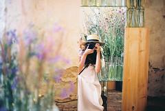 lovely day (janamartish) Tags: flowers portrait color film me hat lady analog canon myself mirror dress autoportrait kodak bokeh grain meadow faceless 100 lovely ektar 1000n