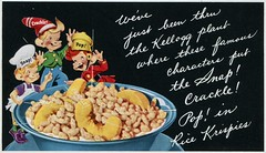 Snap! Crackle! Pop! World Famous Characters Speak The Language Of Rice Krispies, (SwellMap) Tags: architecture vintage advertising design pc 60s fifties postcard suburbia style kitsch retro nostalgia chrome americana 50s roadside googie populuxe sixties babyboomer consumer coldwar midcentury spaceage atomicage