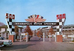 Main Gate, Indianapolis Motor Speedway (SwellMap) Tags: architecture vintage advertising design pc 60s fifties postcard suburbia style kitsch retro nostalgia chrome americana 50s roadside googie populuxe sixties babyboomer consumer coldwar midcentury spaceage atomicage