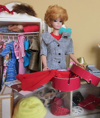 Tag Game: We girls can do anything, right barbie? (Foxy Belle) Tags: hat fashion shop vintage store clothing doll counter box cut barbie clothes bubble career