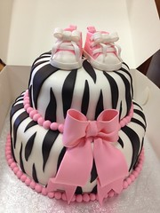 Pink & Zebra Baby Shower Cake (AsheryW) Tags: pink cake gum print shoes paste decorating converse zebra auger gumpaste