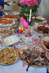 The Dinner Table for Greek Easter (boxelf) Tags: food dinner easter lamb buffet lasagna tzatziki greekeaster spanokopita grilledvegetable