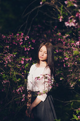 Spring (marie_tsy) Tags: light summer portrait woman love girl beautiful canon 50mm spring pretty natural blossom romantic