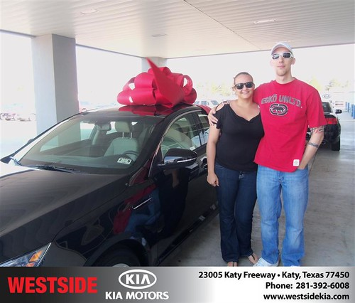 Westside Kia would like to say Congratulations to Derrick McCauley on the 2013 Kia Optima