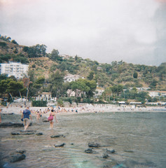 (Monica Forss) Tags: italy 120 6x6 film beach mediumformat lomography italia toycamera sicily analogue taormina sicilia holga120n plasticlens lomographycolournegiso100