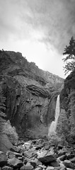 Lower Yosemite Falls (sjrankin) Tags: california panorama mountains yosemitefalls northerncalifornia ir edited boulders yosemite infrared yosemitenationalpark grayscale sierranevada rubble loweryosemitefalls yosemitecreek 6june2013