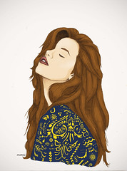 Girl (Marcela Cárdenas.) Tags: color girl digital pencil photoshop hair drawing lol coloring draw