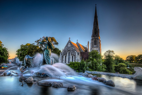 St. Alban Church & Gefion Fountain, Copenhagen, Denmark
