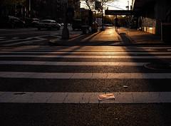 Delancey Street Sunset (BrianEden) Tags: nyc sunset ny newyork man silhouette fuji unitedstates manhattan fujifilm crosswalk delanceystreet x100s