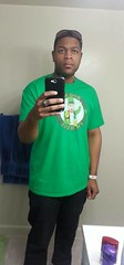 """Derek Douglass with the retired """"Boo Me I'm Heel"""" St. Paddy's Day shirt"""