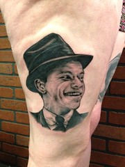 frank sinatra portrait tattoo by Wes Fortier - Burning Hearts Tattoo Co. 1430 Meriden Rd.  Waterbury, CT