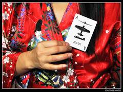 (alton.tw) Tags: flowers red people music woman black game art history classic floral silhouette japan female danger warning vintage scarlet airplane cards japanese war fighter hand artistic wind aircraft aviation ace silk flute poker card ww2 femmefatale kimono taipei   trump zeke zero alton altonthompson taiwanese mitsubishi 1941 omen playingcards worldwar2 warplane aesthetics florid 2011 a6m tokyorose  taihoku taiwanphotographers altonsimages spottercard