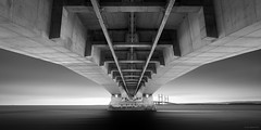 Under the Bridge (Gary Newman) Tags: longexposure bridge sea portrait blackandwhite bw water minimal secondseverncrossing