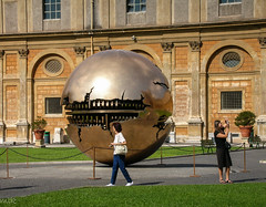 Sphere Within Sphere (Tiigra) Tags: 2007 italy rome vatican circle garden plant sculpture shape shooting vaticancity art