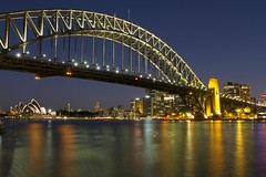 Sydney Opera House, Harbour Bridge and Skyline from Milson's Point at Night