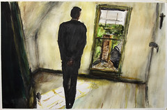 looking out (davedehetre) Tags: door chimney usa house man black green art window silhouette watercolor painting lawrence artwork view room kansas sunbeam