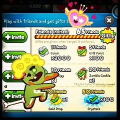 ขอบคุณน้อง ที่แนะนำให้รู้จัก เพื่อนไลน์ 50คนเพื่อให้ส่ง invite เกมให้  เพื่อนทั้ง 50คน มี id คือ  fish00001 ถึง fish00050 ทำให้ได้ของหลายอย่าง รวมถึง Zombie และ Crystal 100 เม็ดด้วย  แต่เล่นไงก็ยังไม่ถึงล้านเหมือนที่เคยทำได้ครั้งเดียวเลย 4-5แสนตลอด  ...เด