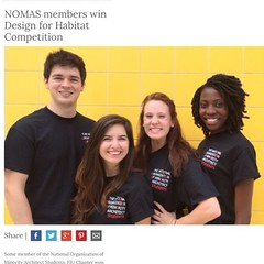 "Congratulations to our NOMAS members, Daniel Rodriguez, Valeria Fossi, Laine Simpson, and Ebehi Ijewere for winning the Design for Habitat Competition! #noma #nomasfiu #habitatforhumanity #designforhabitat #firstplace #wedobigthings • <a style=""font-size:0.8em;"" href=""http://www.flickr.com/photos/109776203@N02/13468987073/"" target=""_blank"">View on Flickr</a>"